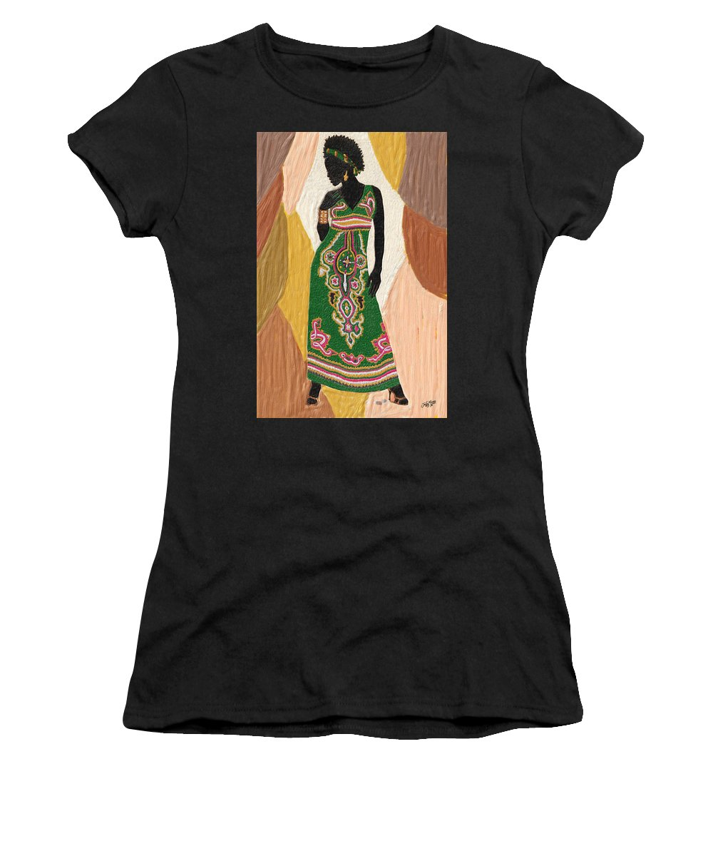 Women Women's T-Shirt (Athletic Fit) featuring the painting Style 4 by James Mingo