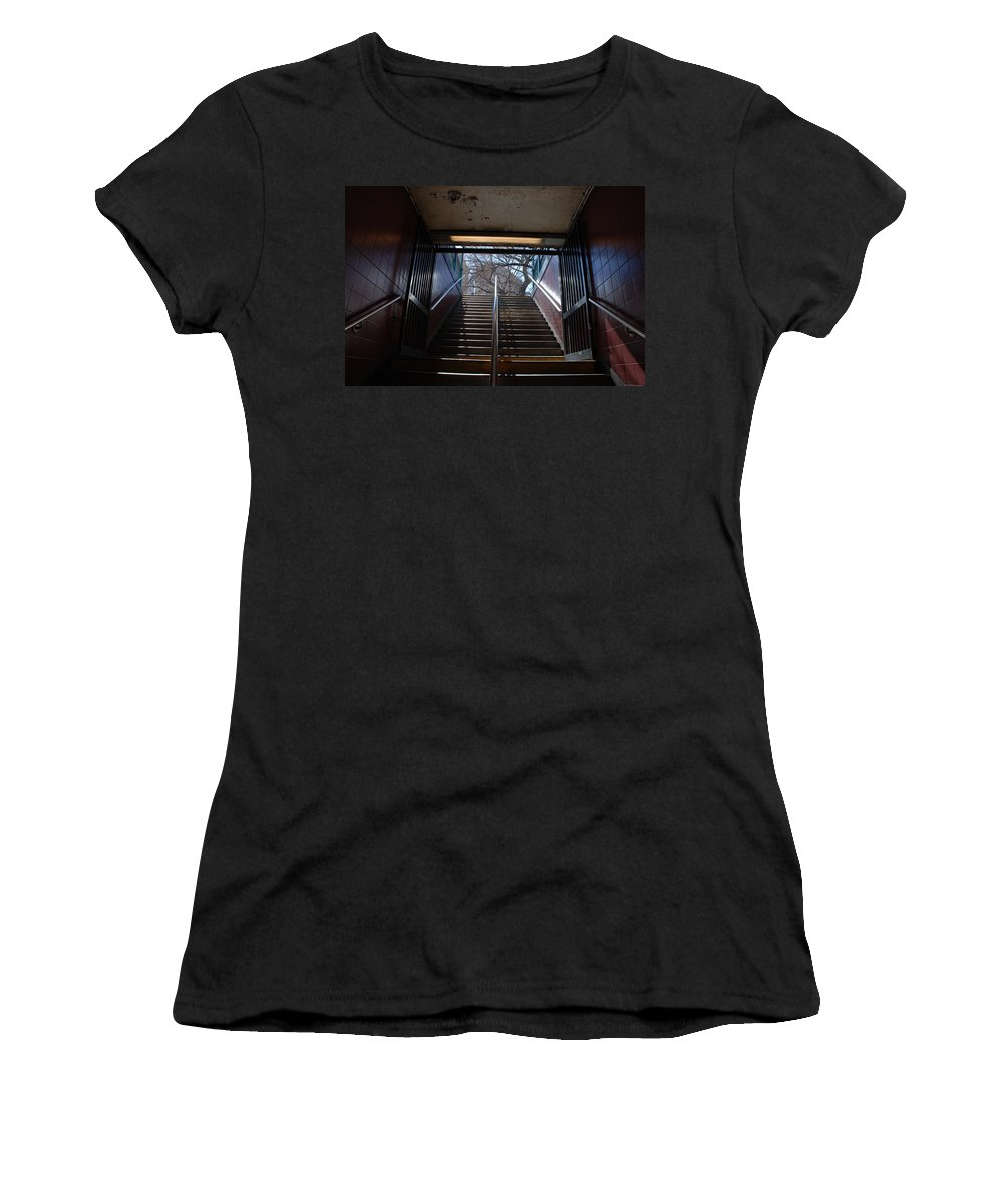 Pop Art Women's T-Shirt (Athletic Fit) featuring the photograph Subway Stairs To Freedom by Rob Hans