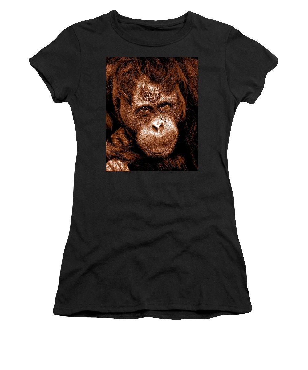 Sumatran Orangutan Women's T-Shirt (Athletic Fit) featuring the mixed media Sumatran Orangutan Female by The Griffin Passant Streetworks