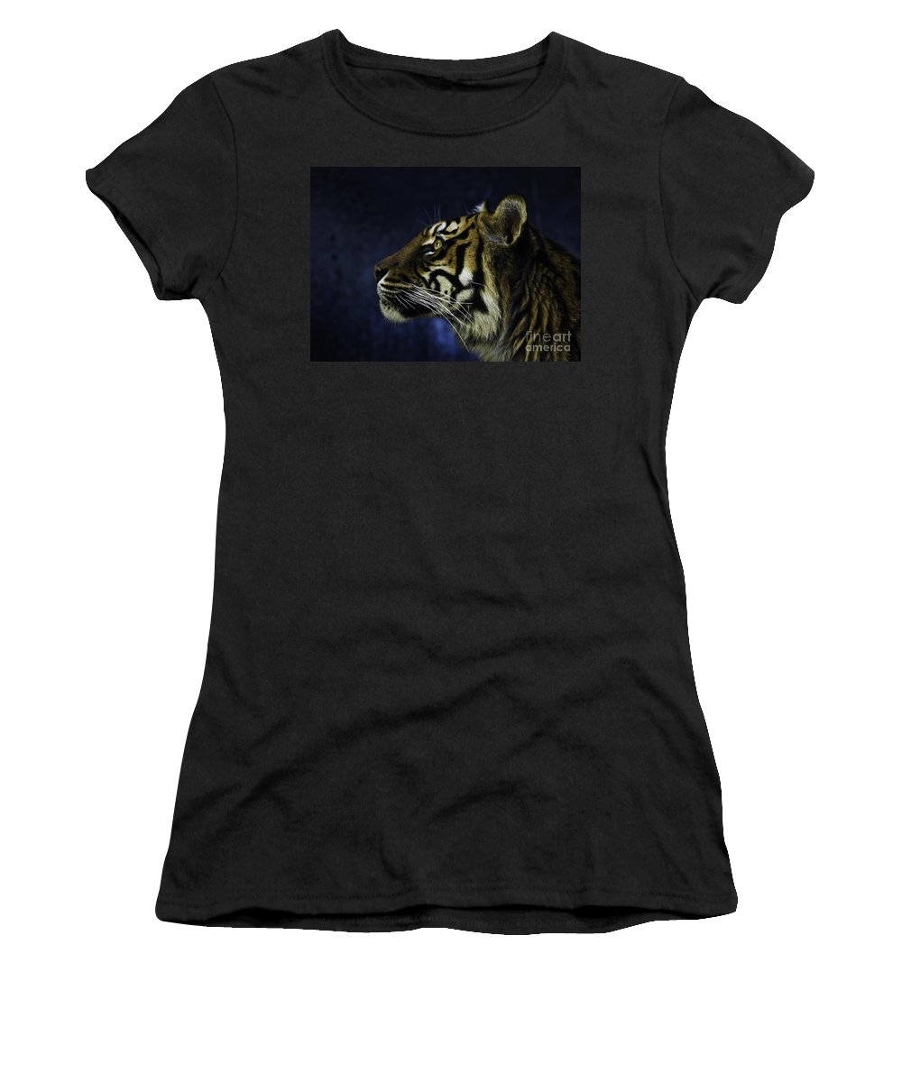 Sumatran Tiger Women's T-Shirt (Athletic Fit) featuring the photograph Sumatran Tiger Profile by Sheila Smart Fine Art Photography