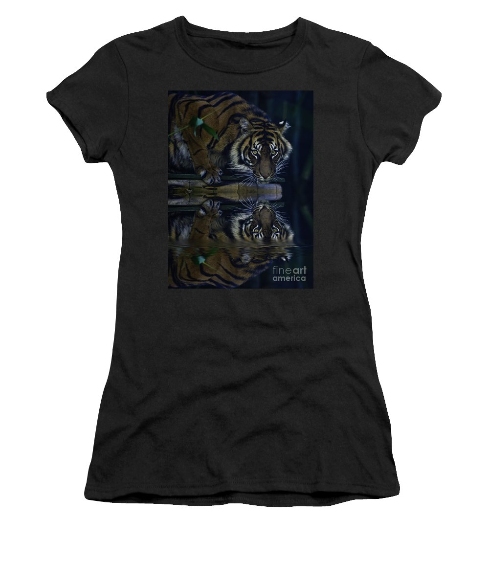 Sumatran Tiger Women's T-Shirt (Athletic Fit) featuring the photograph Sumatran Tiger Reflection by Avalon Fine Art Photography