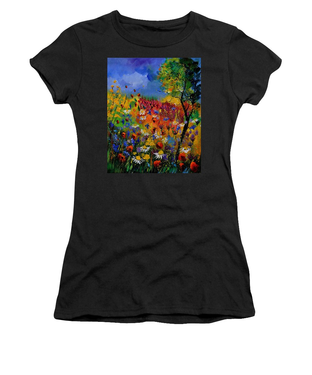 Flowers Women's T-Shirt featuring the painting Summer 670170 by Pol Ledent