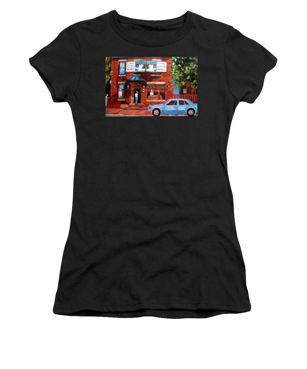 Fairmount Bagel Women's T-Shirt (Athletic Fit) featuring the painting Summer At Fairmount by Carole Spandau