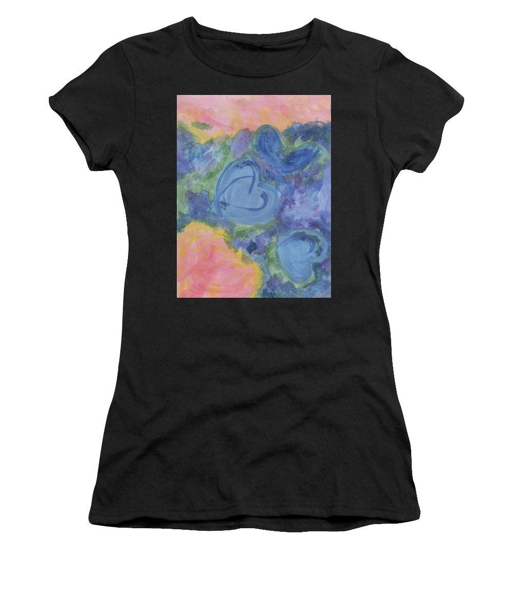 Women's T-Shirt (Athletic Fit) featuring the painting Summer Dance Of The Hearts #49 by Arolyn Krzynowek