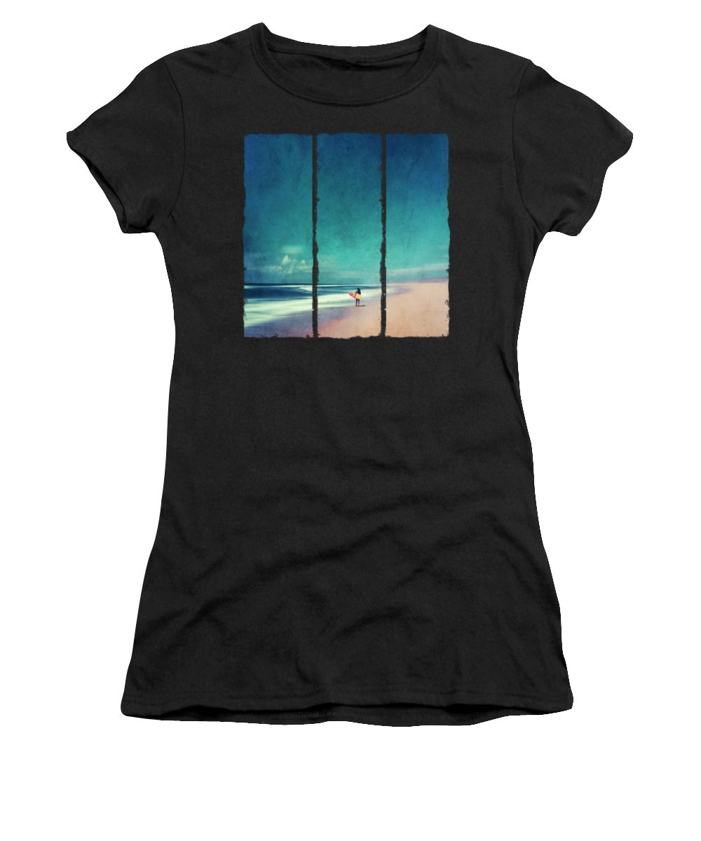 Landscape Women's T-Shirt featuring the photograph Summer Days - Abstract Seascape With Surfer by Dirk Wuestenhagen