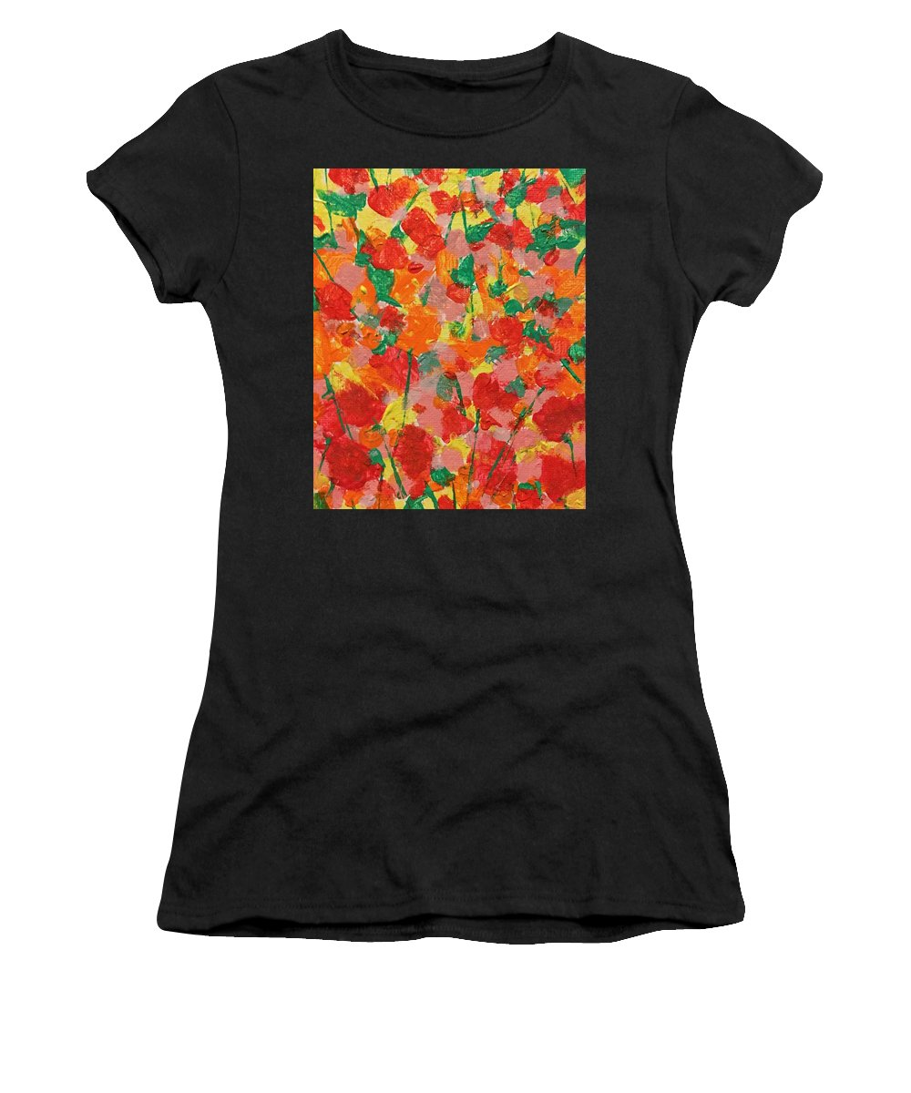 Flowers Women's T-Shirt (Athletic Fit) featuring the painting Summer Garden by Diane Sykeny