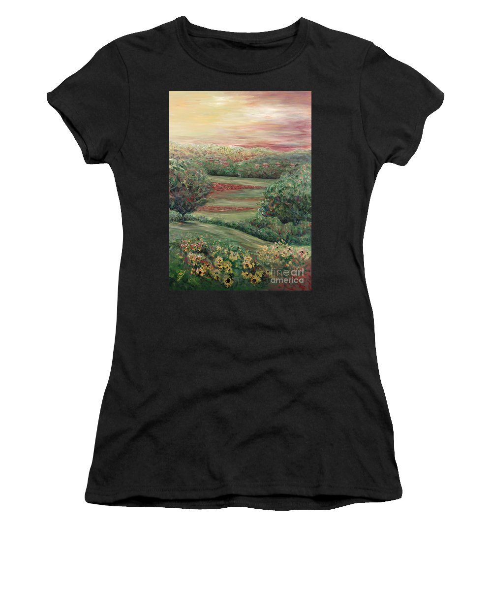 Landscape Women's T-Shirt (Athletic Fit) featuring the painting Summer In Tuscany by Nadine Rippelmeyer