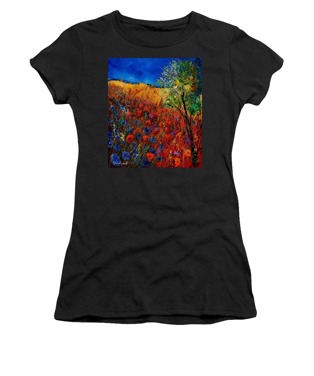 Flowers Women's T-Shirt (Athletic Fit) featuring the painting Summer Landscape With Poppies by Pol Ledent