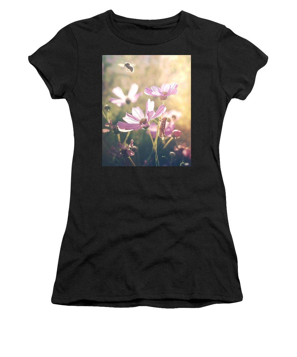 Bee Nature Flowers Summer Grasshopper Women's T-Shirt (Athletic Fit) featuring the photograph Summer Love by Becca Stauffer
