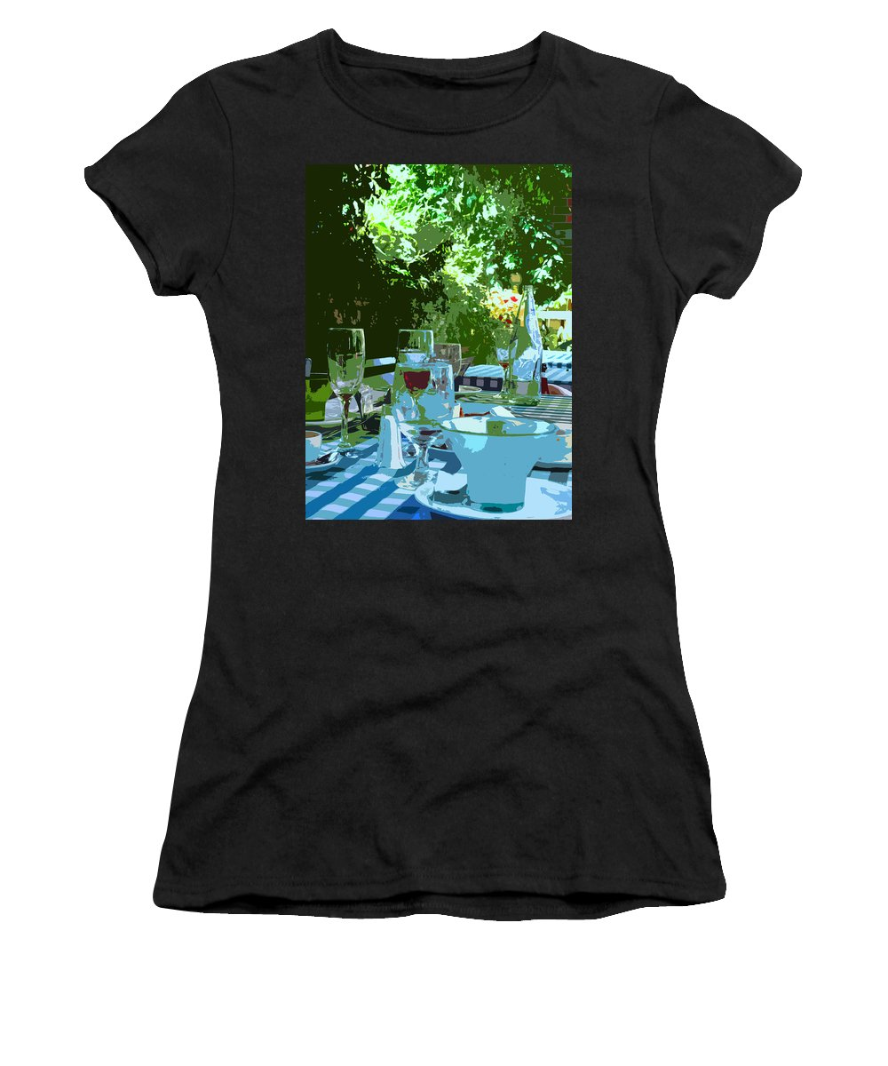Wine Women's T-Shirt (Athletic Fit) featuring the photograph Summer Lunch Remembered by Ian MacDonald
