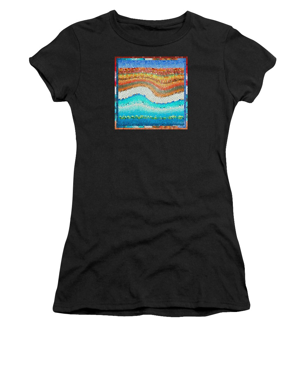 Colorful Women's T-Shirt (Athletic Fit) featuring the digital art Summer Mosaic by Melissa A Benson