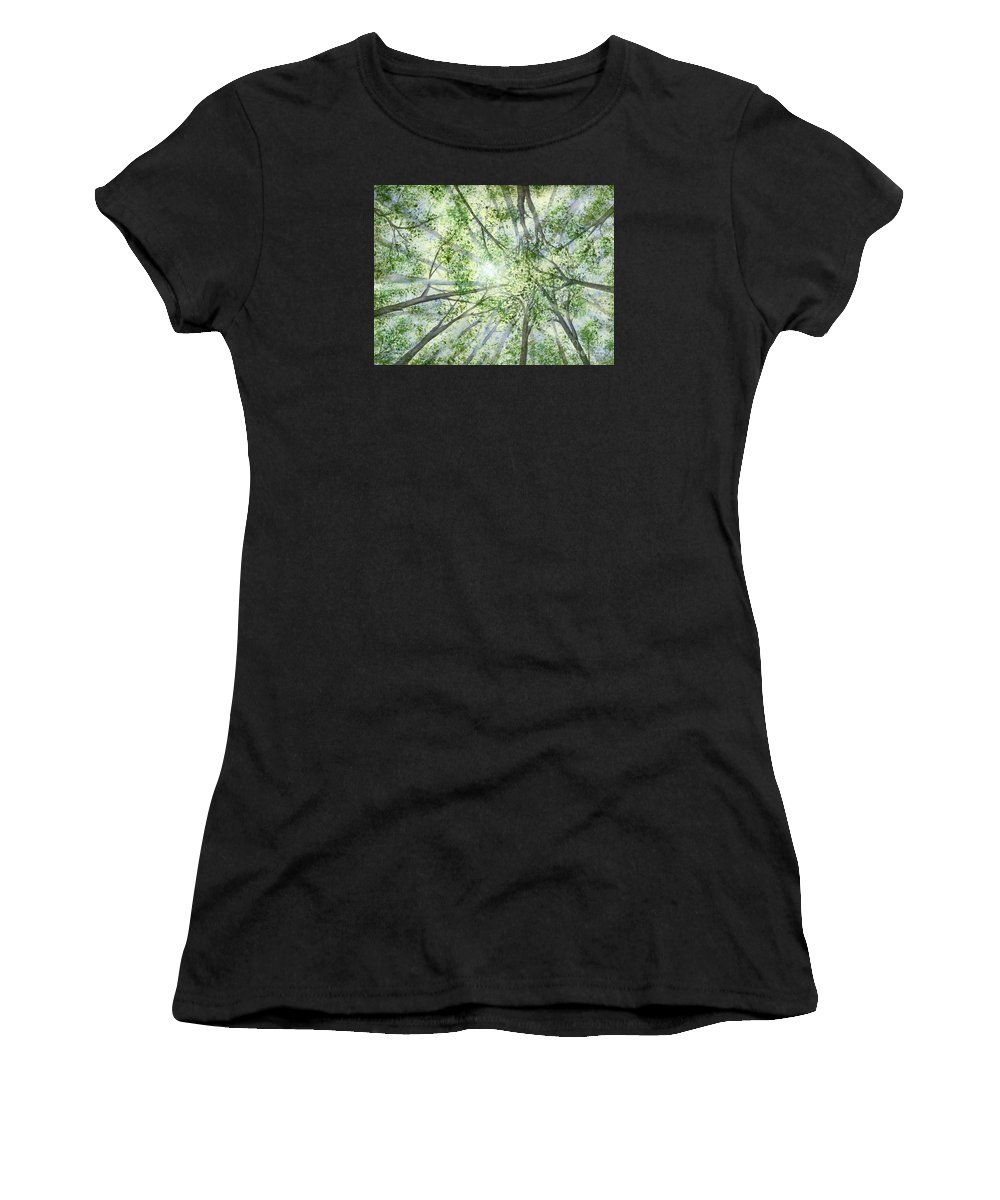 Trees Women's T-Shirt (Athletic Fit) featuring the painting Summer Rays by Lynn Quinn
