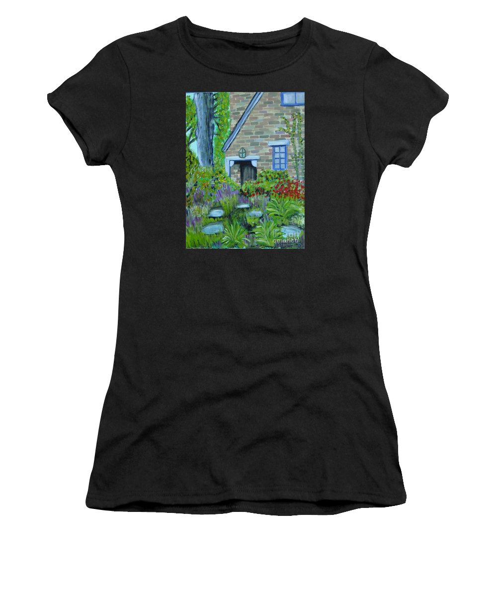 Cottage Women's T-Shirt (Athletic Fit) featuring the painting Summer Retreat by Laurie Morgan