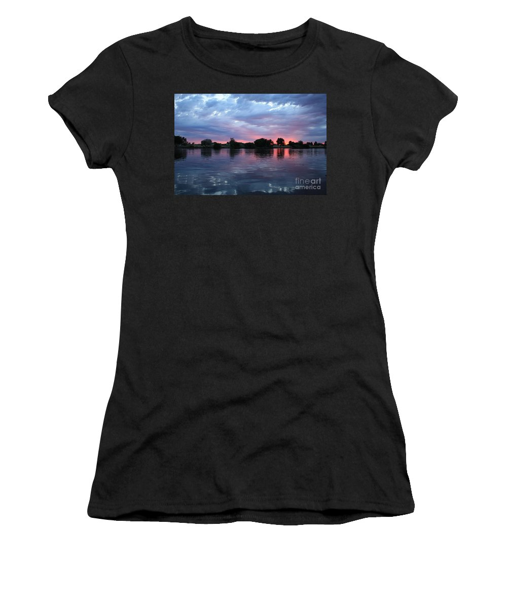 Sunset Women's T-Shirt (Athletic Fit) featuring the photograph Summer Sunset On Yakima River 4 by Carol Groenen