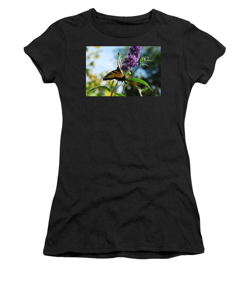 Swallowtail Women's T-Shirt (Athletic Fit) featuring the photograph Summer Swallowtail by Lori Tambakis