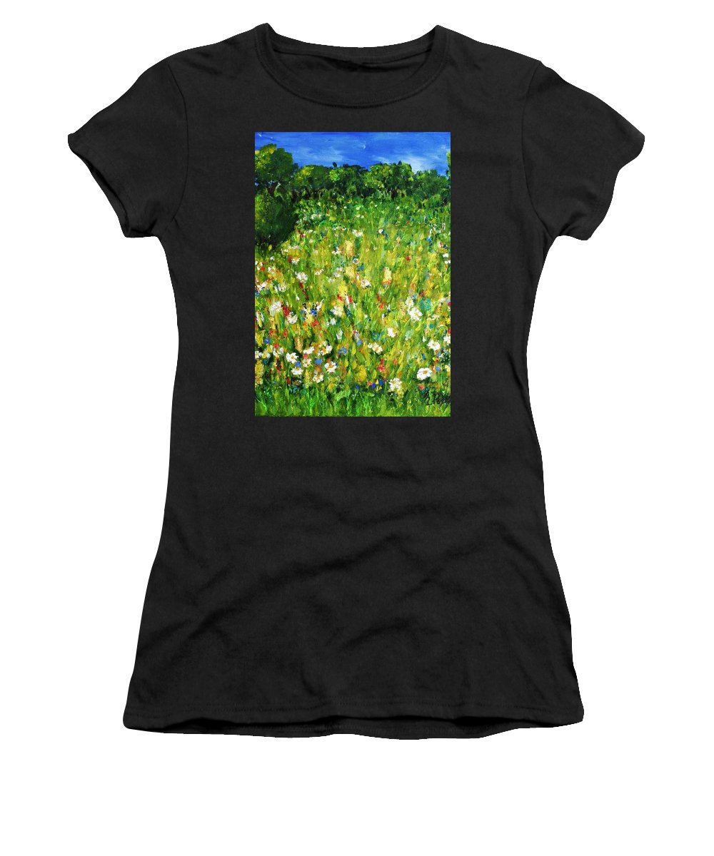 Landscape Women's T-Shirt (Athletic Fit) featuring the painting The Glade by Evelina Popilian