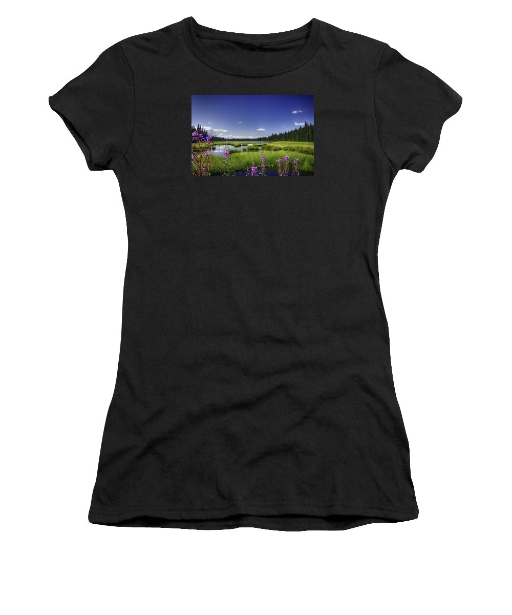 Fireweed Women's T-Shirt (Athletic Fit) featuring the photograph Summer's End by Eclectic Edge Photography Kevin and Diana Holton