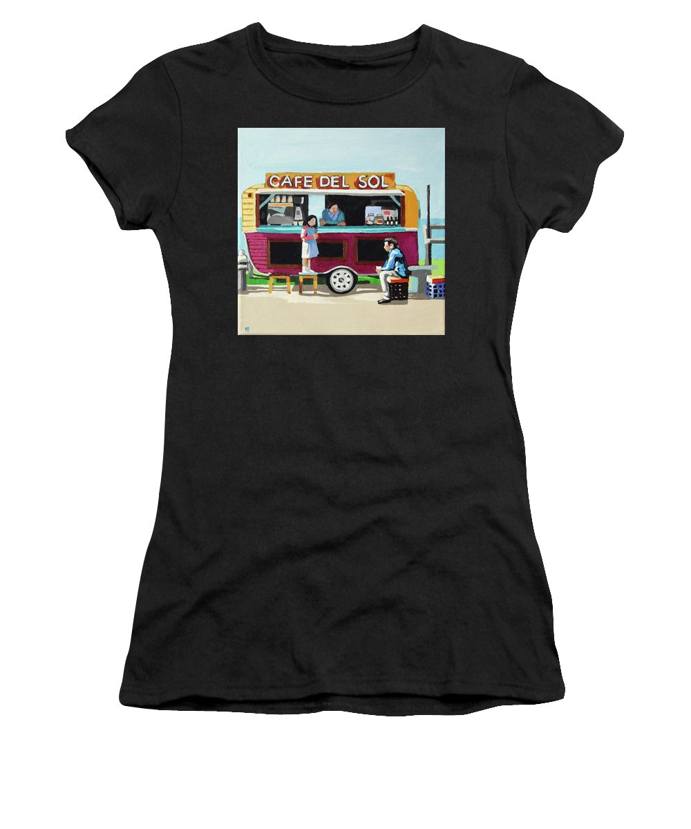 #foodtruck #beach #coastal #coffee #sun #texasartist #coffeecup #coffeehouse Women's T-Shirt (Athletic Fit) featuring the painting Sun Coffee by Melinda Patrick