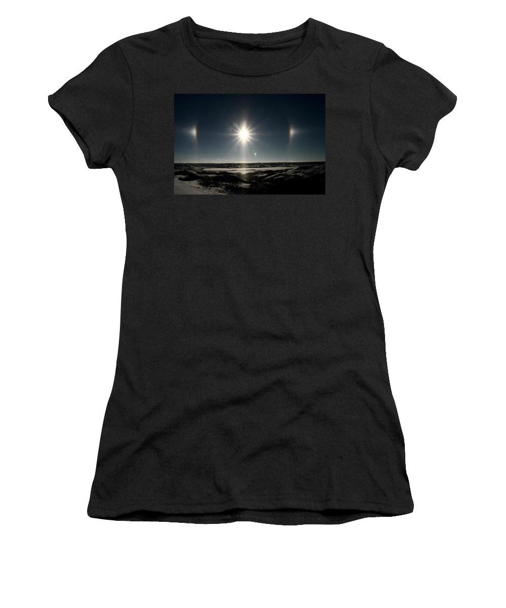 Sun Women's T-Shirt featuring the digital art Sun Dogs Besides Settig Sun by Mark Duffy