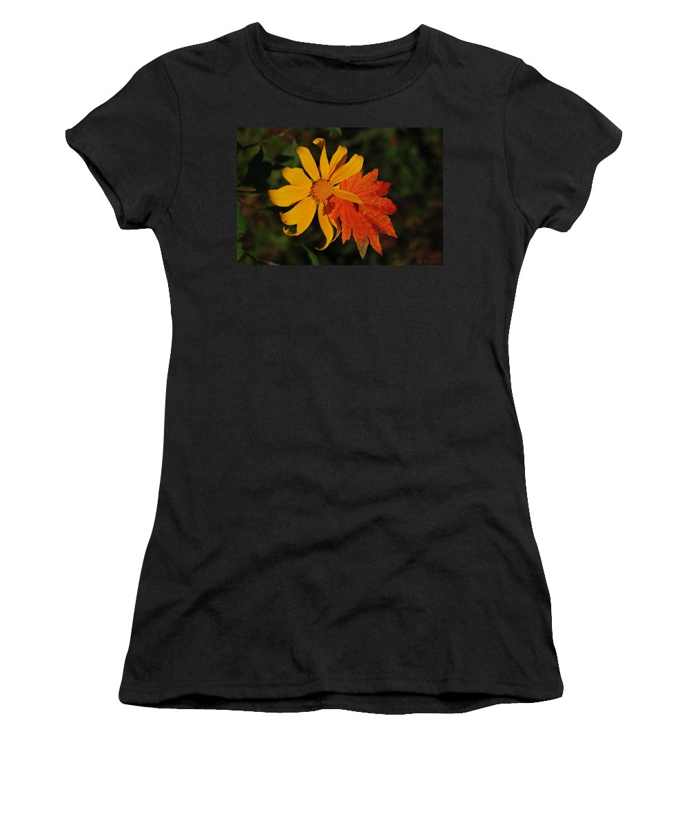 Pop Art Women's T-Shirt (Athletic Fit) featuring the photograph Sun Flower And Leaf by Rob Hans