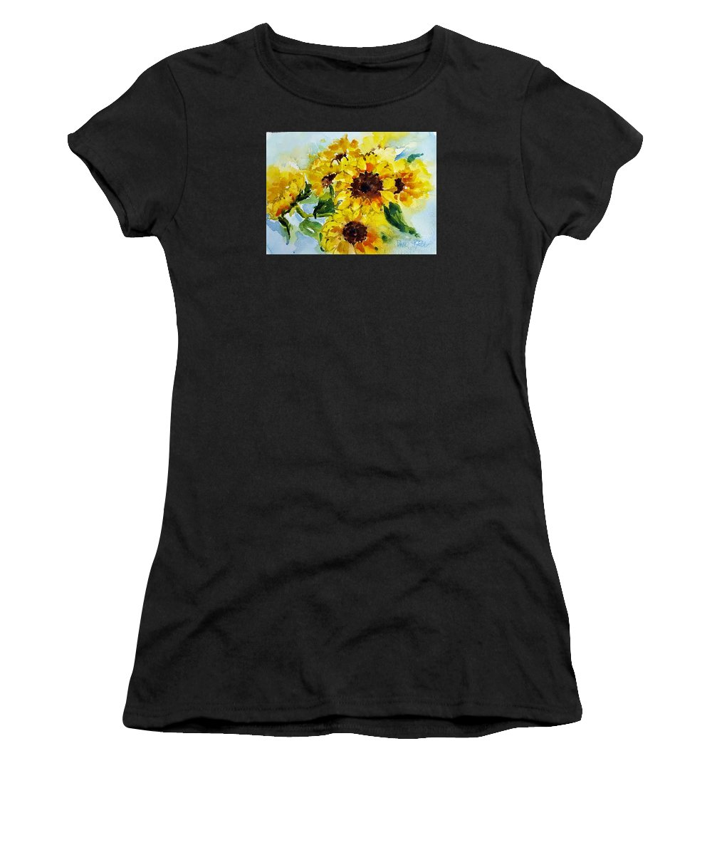 Vermont Women's T-Shirt (Athletic Fit) featuring the painting Sun Flowers by Diane Bell