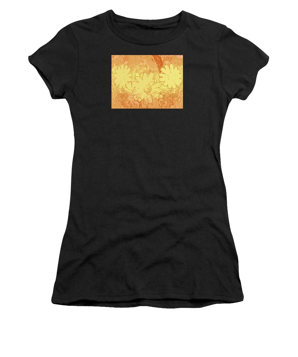 Abstract Women's T-Shirt (Athletic Fit) featuring the digital art Sun Flowers by Efrat Fass