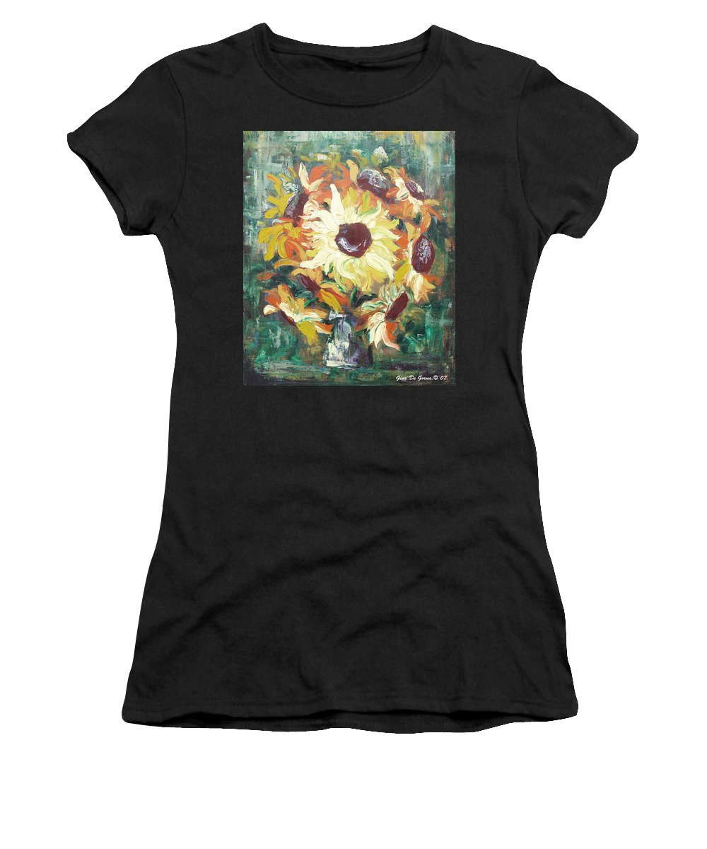 Sunflowers Women's T-Shirt (Athletic Fit) featuring the painting Sun In A Vase by Gina De Gorna
