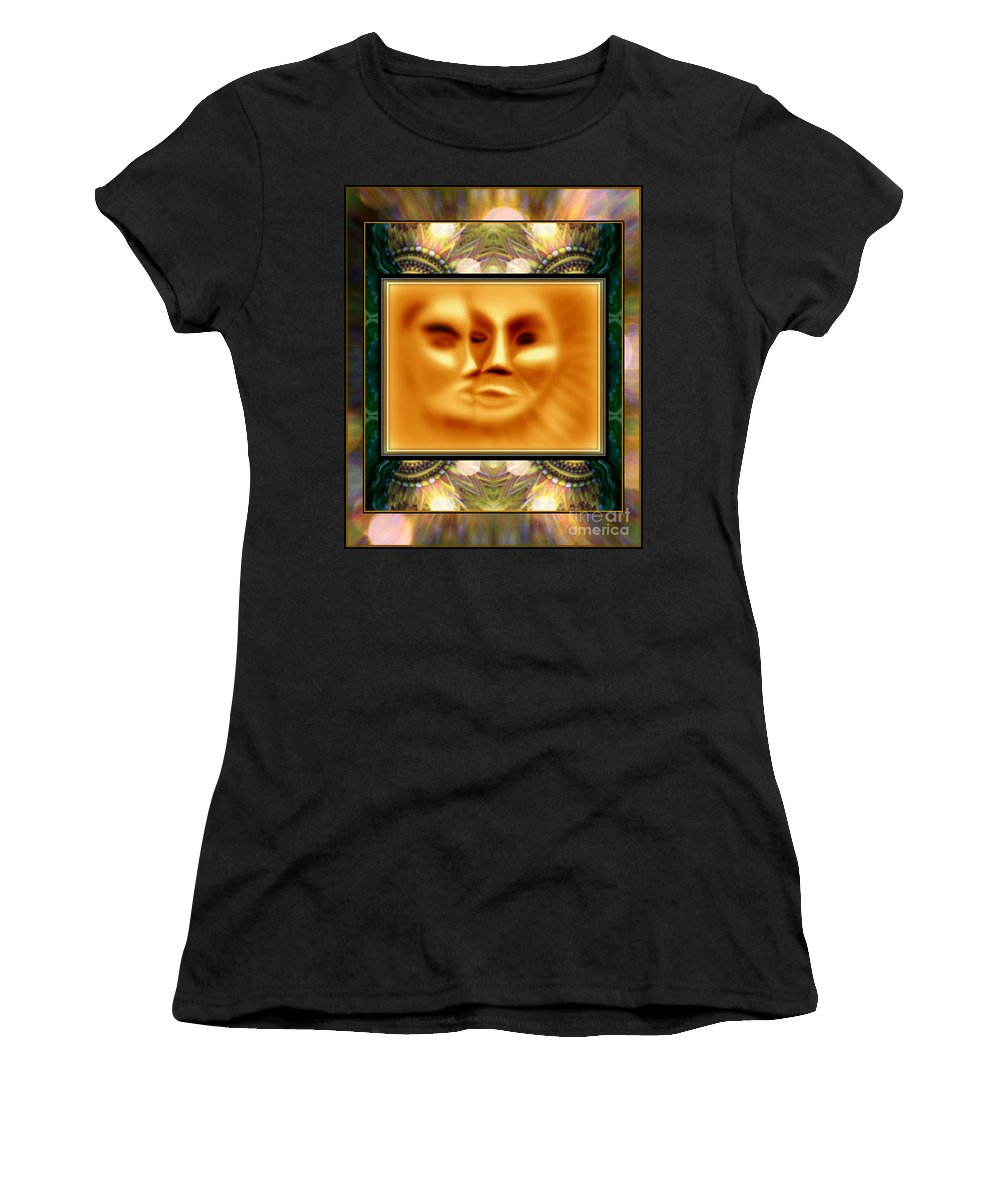 Sun Loves Moon Art Montage By Wbk Women's T-Shirt (Athletic Fit) featuring the painting Sun Loves Moon Montage by Wbk