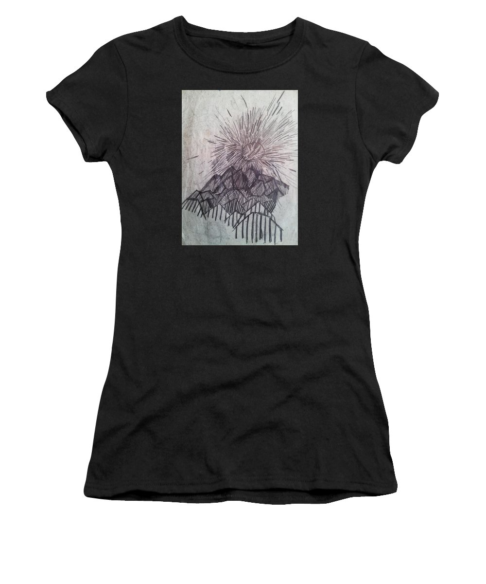 Great Smoky Mtns Range Tn Smokies Birthplace Landscape Art Women's T-Shirt featuring the drawing Sun Over The Smoky Mountains by William Douglas