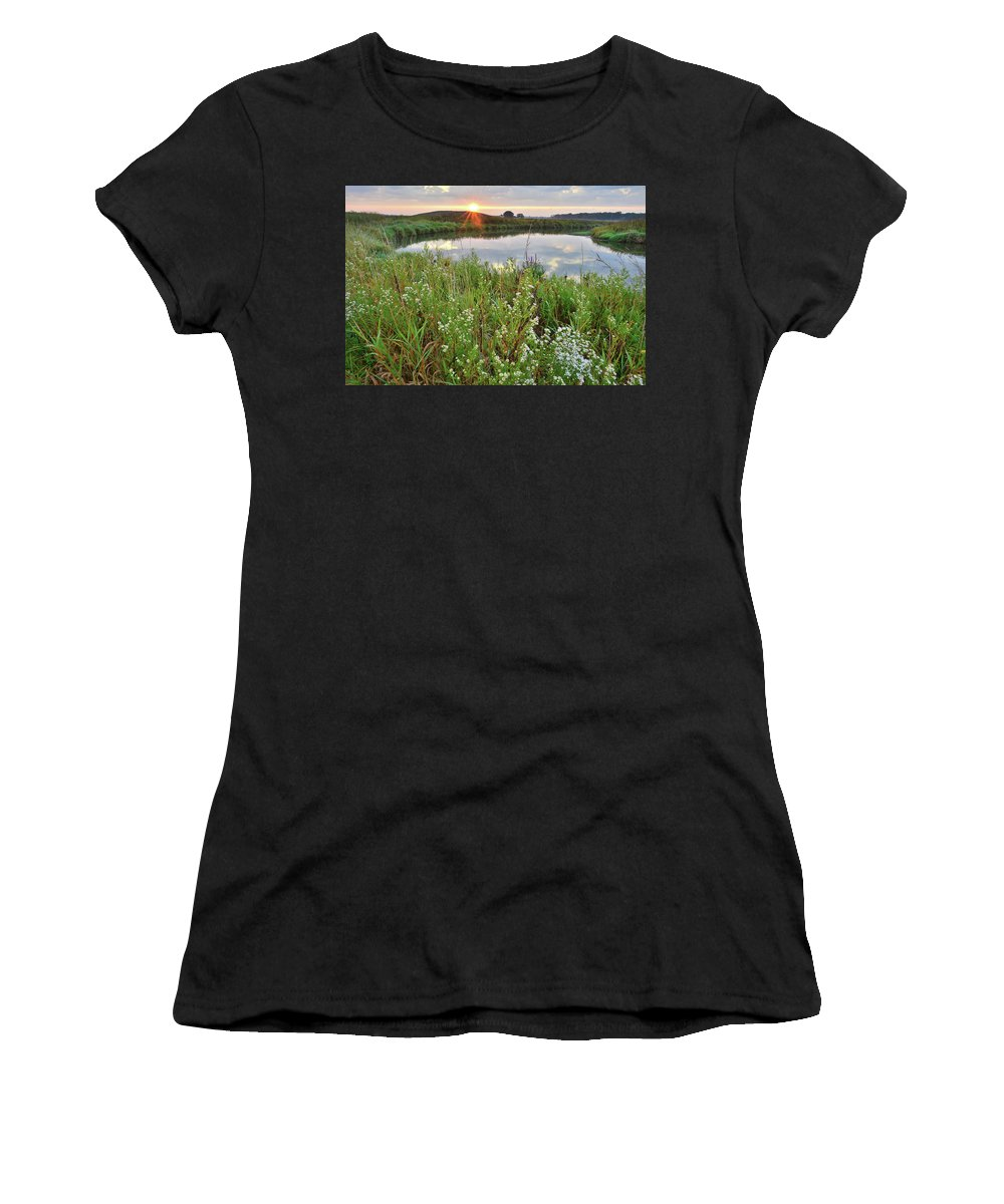 Glacial Park Women's T-Shirt (Athletic Fit) featuring the photograph Sun Peeks Through Along The Nippersink by Ray Mathis