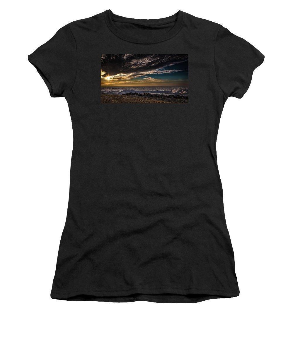 Beach Women's T-Shirt (Athletic Fit) featuring the photograph Sun Peeks Through by Onyonet Photo Studios