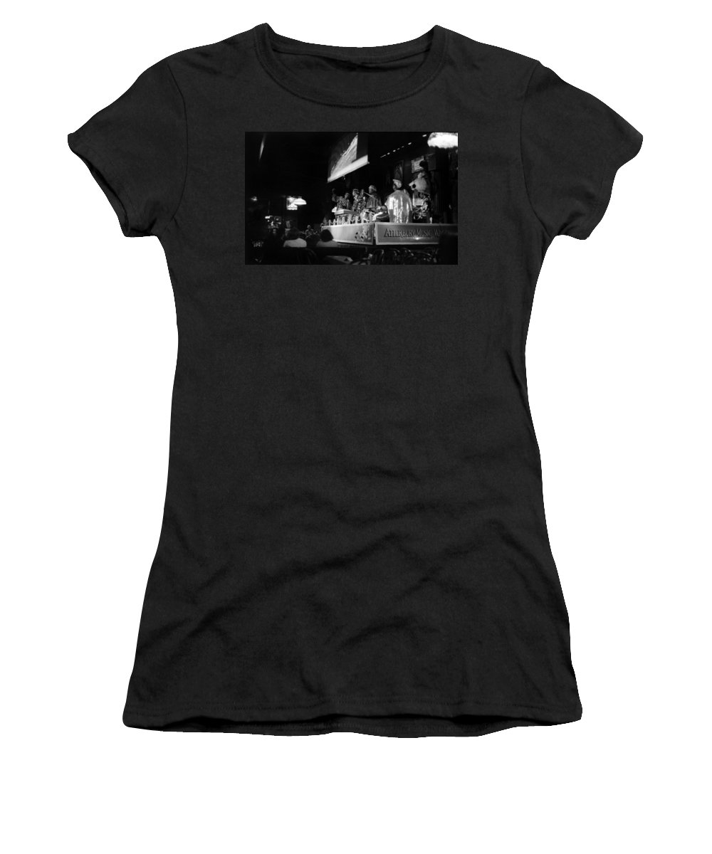 Jazz Women's T-Shirt (Athletic Fit) featuring the photograph Sun Ra Arkestra At The Red Garter 1970 Nyc 19 by Lee Santa