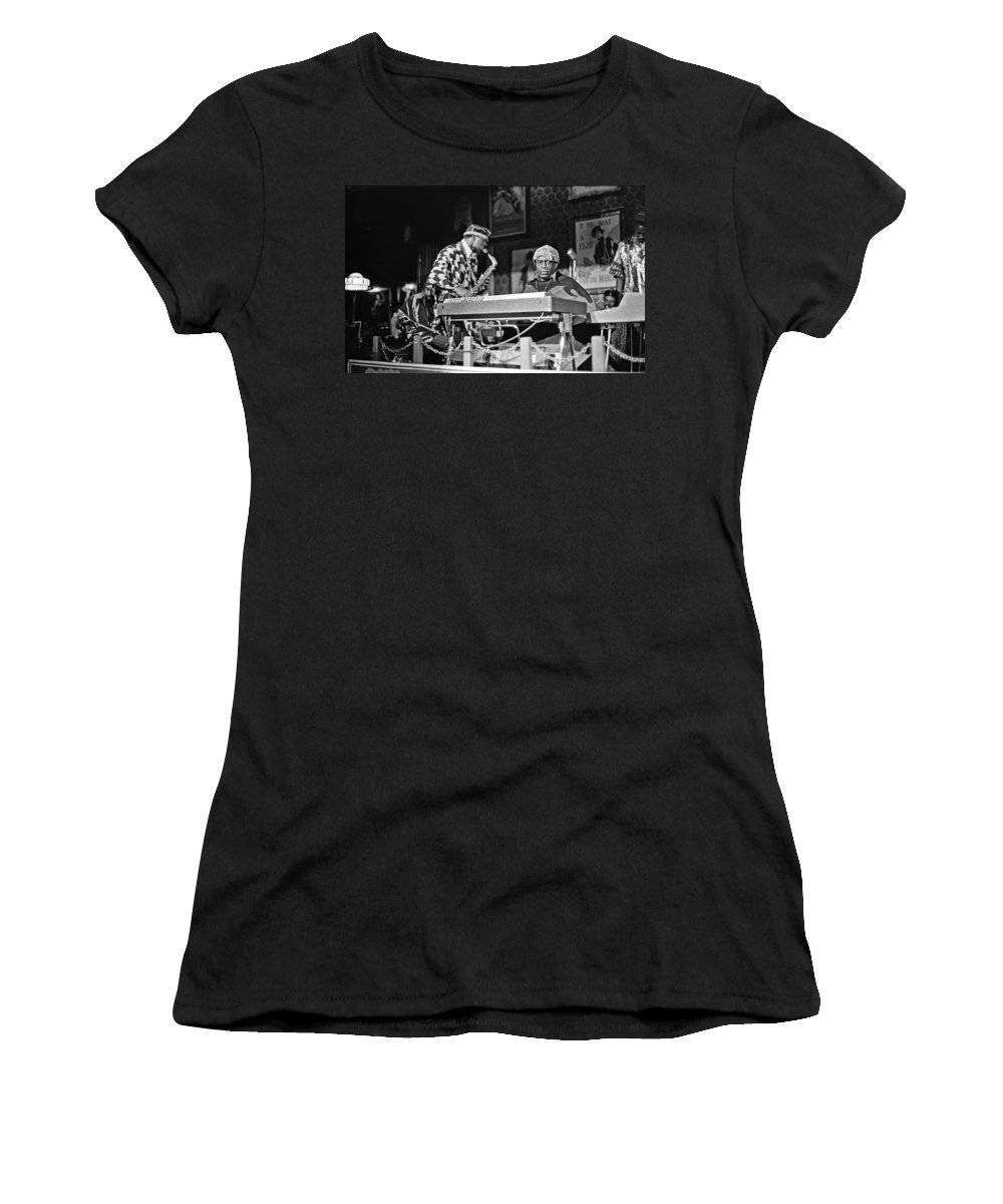 Jazz Women's T-Shirt (Athletic Fit) featuring the photograph Sun Ra Arkestra At The Red Garter 1970 Nyc 3 by Lee Santa