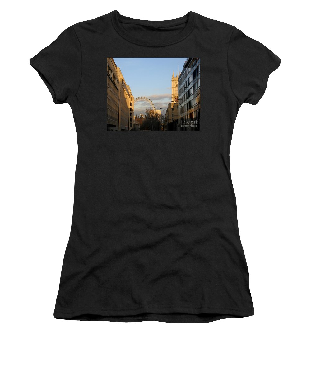 London Women's T-Shirt (Athletic Fit) featuring the photograph Sun Sets On London by Ann Horn