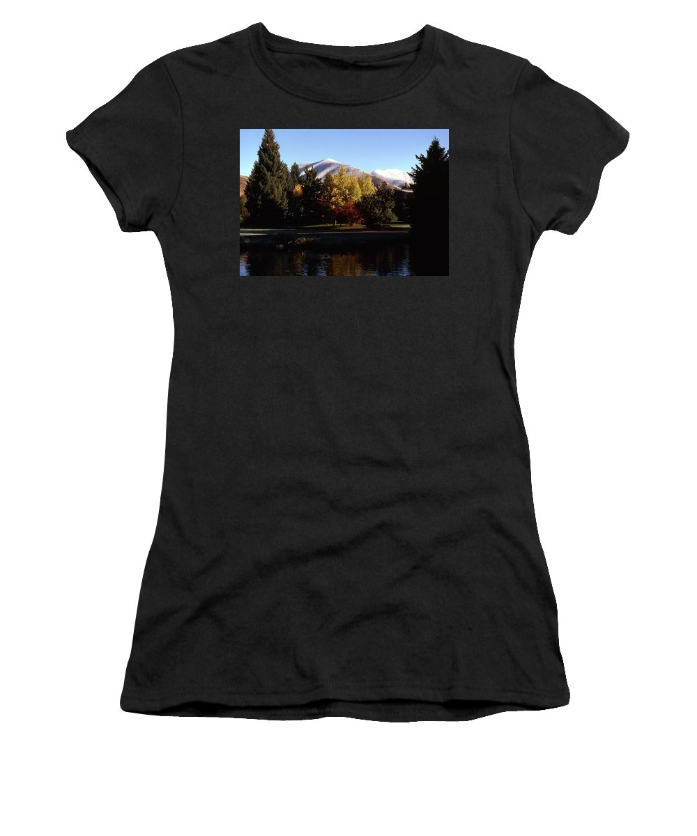 Landscapes Women's T-Shirt (Athletic Fit) featuring the photograph Sun Valley Morning by John Schneider
