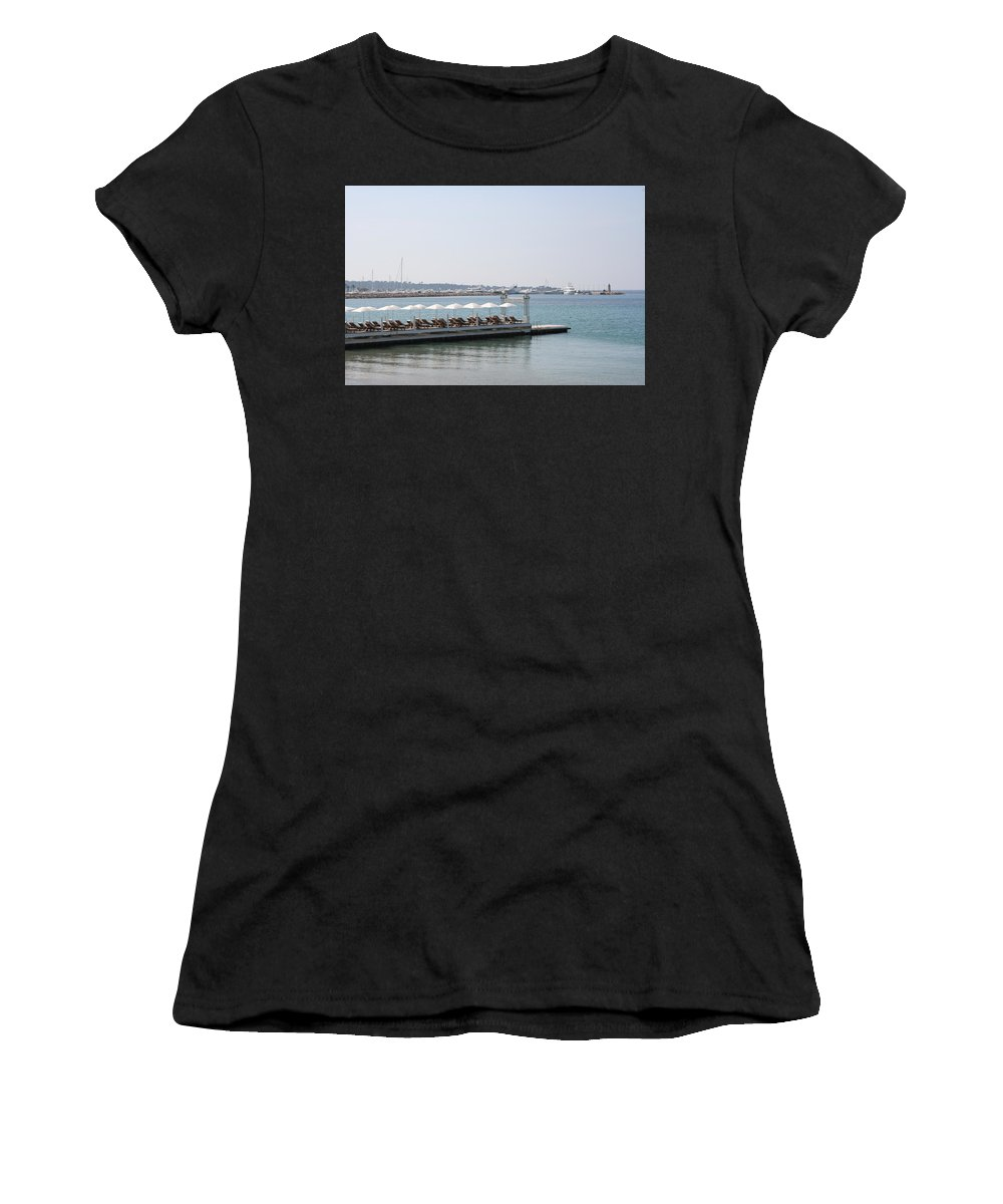 Sunbed Women's T-Shirt (Athletic Fit) featuring the photograph Sunbathing In A Row by Christiane Schulze Art And Photography