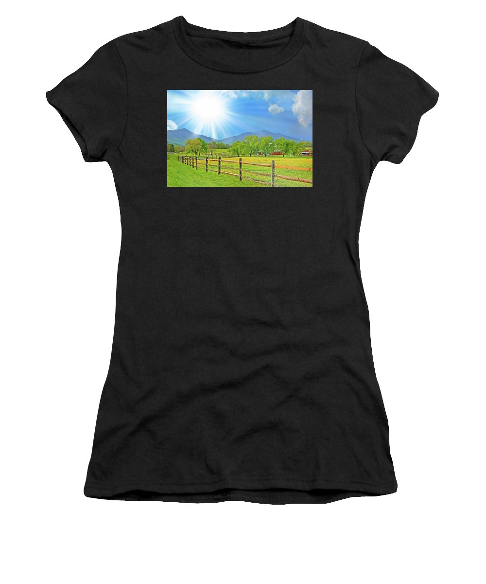 Peaks Of Otter Women's T-Shirt featuring the photograph Sunburst Over Peaks Of Otter, Virginia by The James Roney Collection