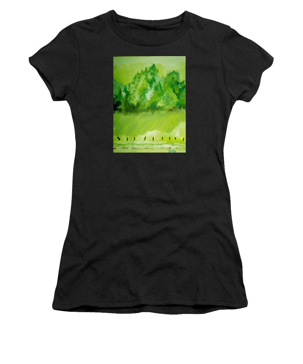Spring Women's T-Shirt (Athletic Fit) featuring the painting Sunday At Two Thirty by Seth Weaver