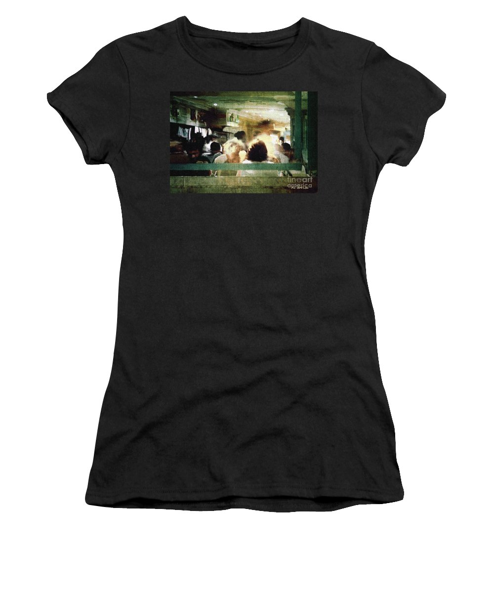 People Women's T-Shirt (Athletic Fit) featuring the painting Sunday Dinner Gotham by RC DeWinter