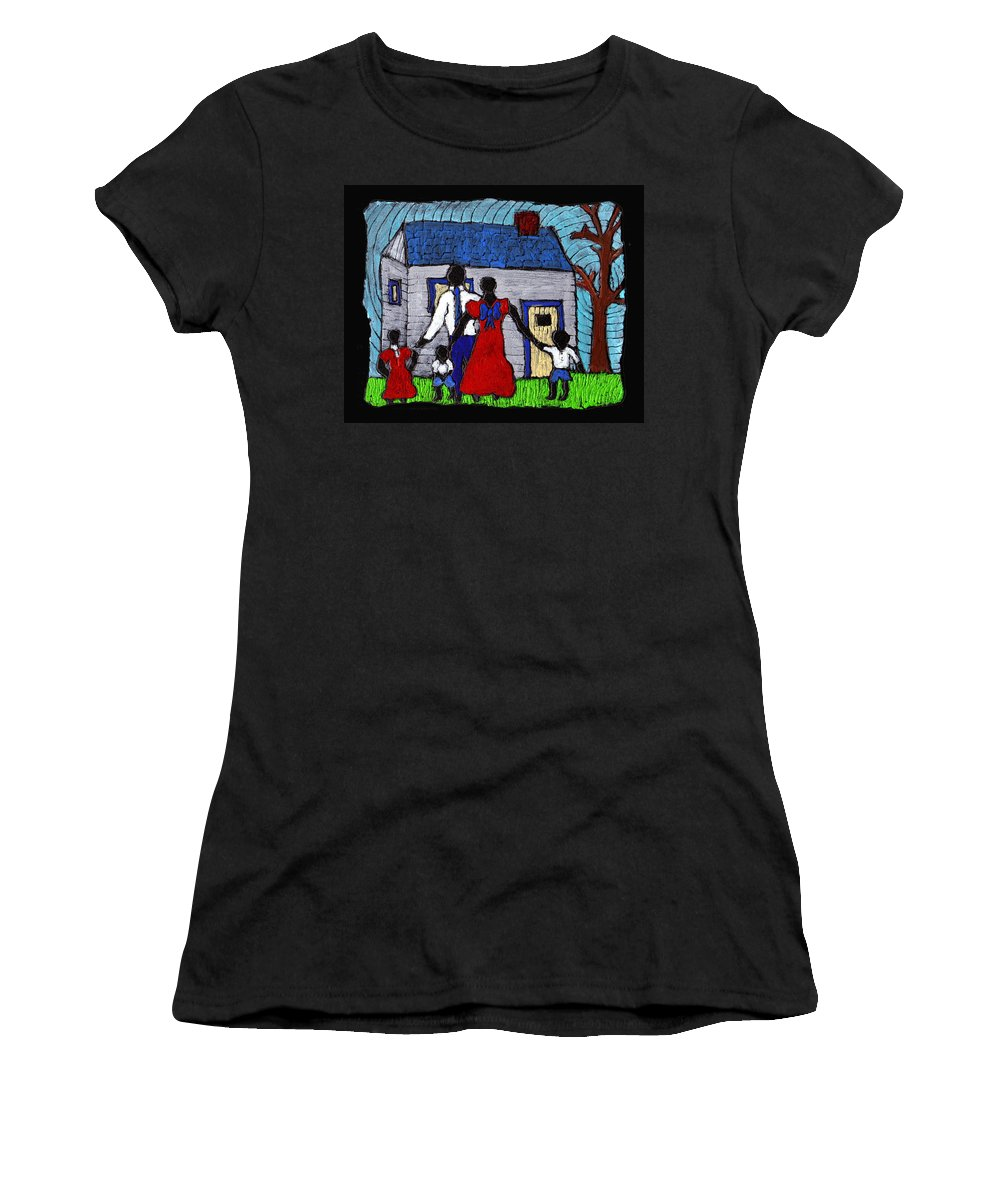 Family Women's T-Shirt (Athletic Fit) featuring the painting Sunday Morning Finest by Wayne Potrafka