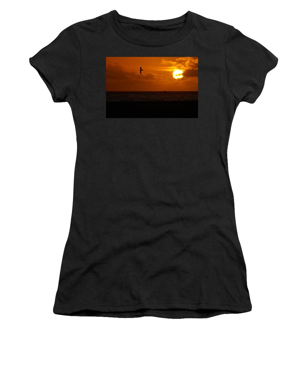 Clay Women's T-Shirt (Athletic Fit) featuring the photograph Sundown Flight by Clayton Bruster