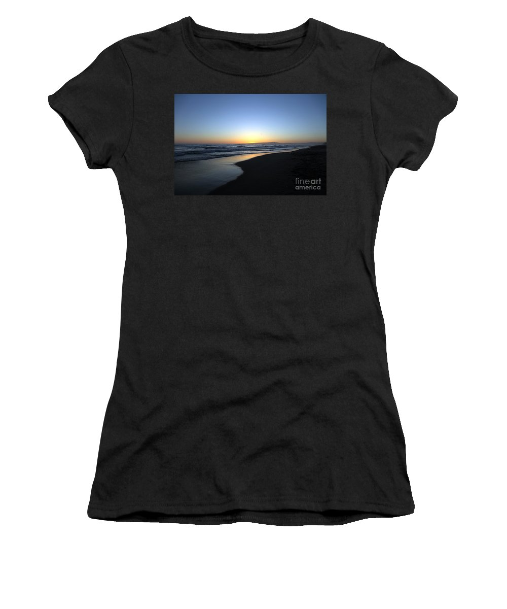 Beaches Women's T-Shirt (Athletic Fit) featuring the photograph Sunet Beach by Amanda Barcon