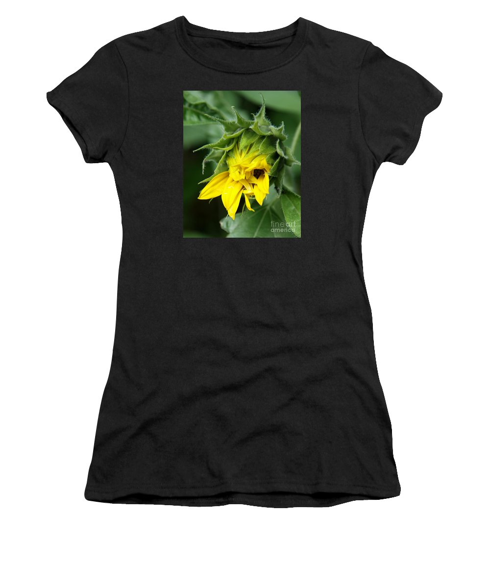 Sunflower Women's T-Shirt (Athletic Fit) featuring the photograph Sunflower Bud by Christiane Schulze Art And Photography