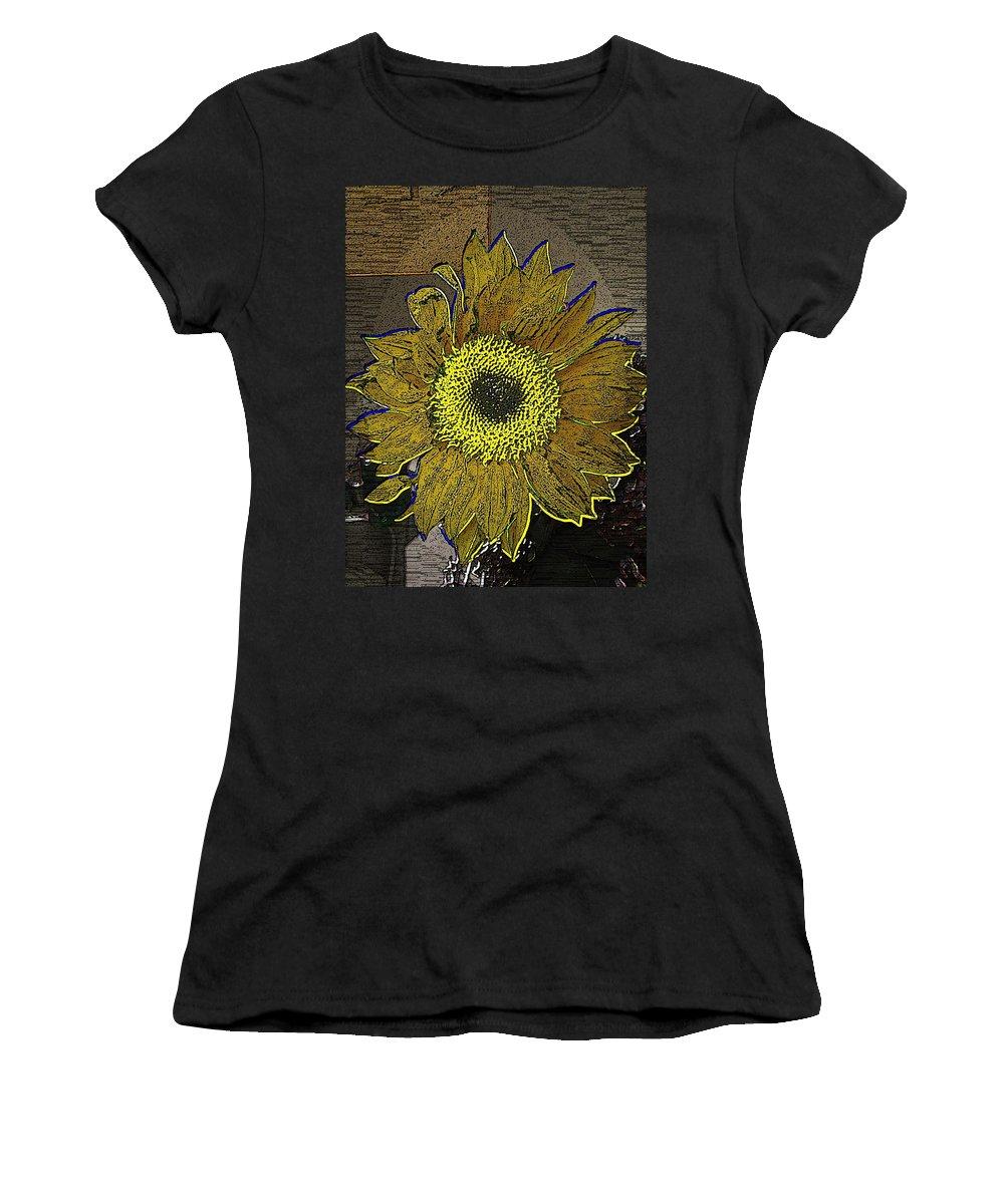 Sunflower Women's T-Shirt (Athletic Fit) featuring the digital art Sunflower Dreaming by Tim Allen