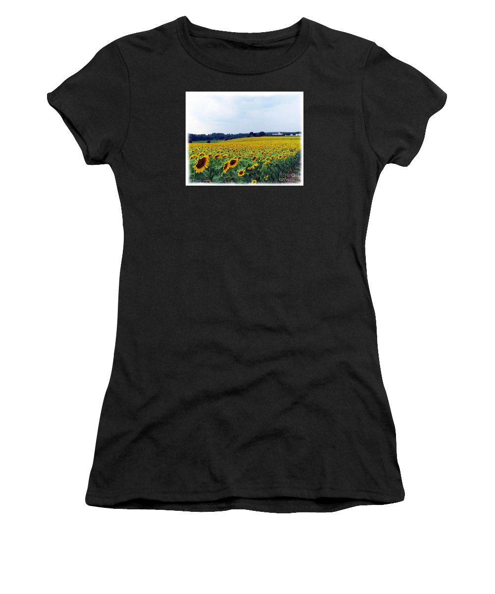 Sunflowers Women's T-Shirt (Athletic Fit) featuring the photograph Sunflower Farm by Caitlin Lodato