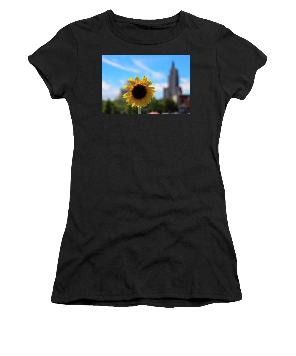 Sunflower Women's T-Shirt (Athletic Fit) featuring the photograph Sunflower In Providence by Charles Carlow