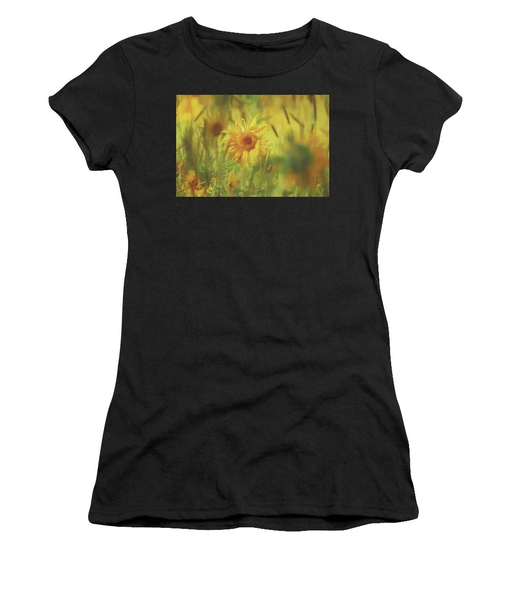 Sunflower Women's T-Shirt (Athletic Fit) featuring the photograph Sunflower In The Wind Painting by Carrie Ann Grippo-Pike