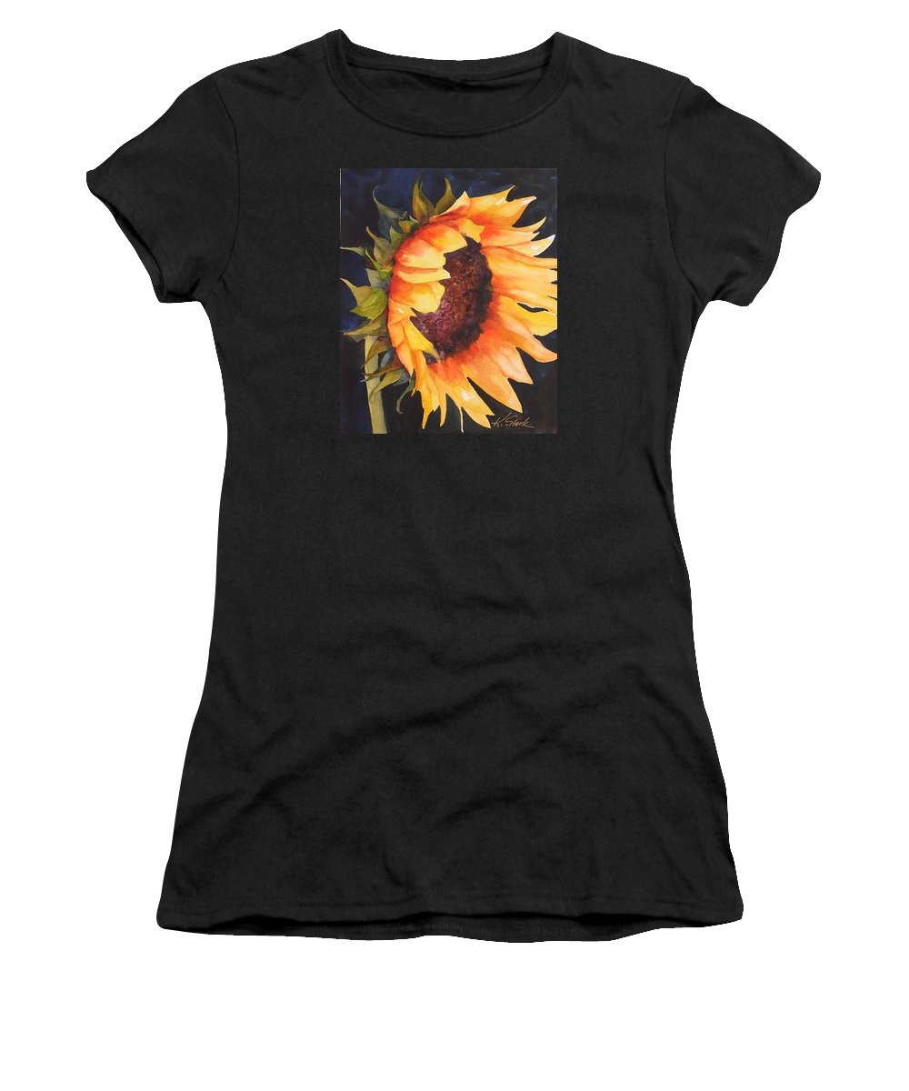 Floral Women's T-Shirt (Athletic Fit) featuring the painting Sunflower by Karen Stark