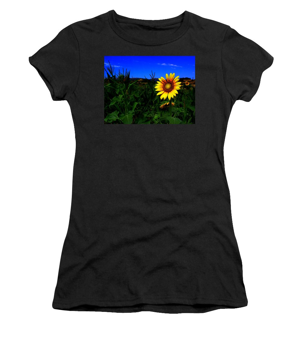 Flower Women's T-Shirt (Athletic Fit) featuring the photograph Sunflower by Silvia Ganora