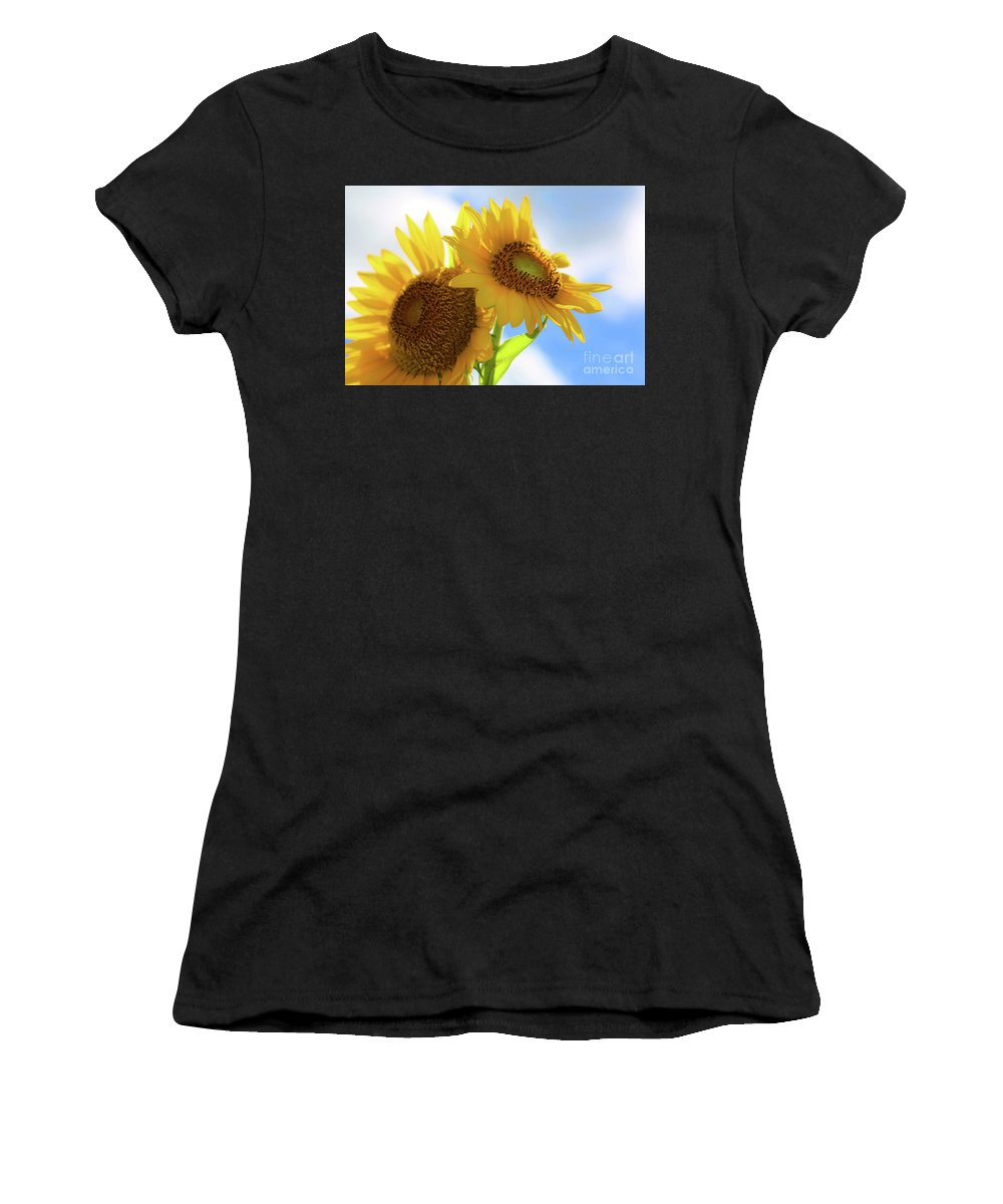 Sunflowers Women's T-Shirt (Athletic Fit) featuring the photograph Sunflower Twins by Diana Raquel Sainz